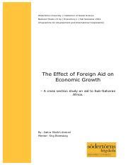 The Effects of Disbursement of Foreign Aid to African